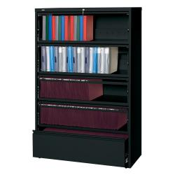 Lorell(R) Fortress Series 42ft.'W 5-Drawer Steel Lateral File Cabinet, With Roll-Out Shelves, Black