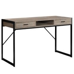 Monarch Specialties Computer Desk With Drawers, Dark Taupe/Black
