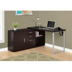 Monarch Specialties L-Shaped Computer Desk With Cabinet, Cappuccino