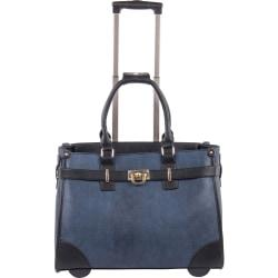 bugatti Carrying Case (Tote) for 15.6in. Notebook - Blue, Black - Synthetic Leather, Grain - Telescoping Handle - 13in. Height x 7.5in. Width x 17.5in. Depth