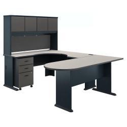 Bush Business Furniture Office Advantage U Shaped Corner Desk With Hutch And Mobile File Cabinet, Slate/White Spectrum, Premium Installation