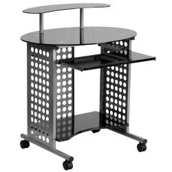 Flash Furniture Cassini Workstation Mobile Computer Desk With Glass Top, Black/Clear