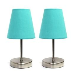 Simple Designs Mini Basic Table Lamps, 10-5/8in.H, Blue Shade/Sand Nickel Base, Set Of 2 Lamps