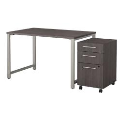 Bush Business Furniture 400 Series Table Desk with 3 Drawer Mobile File Cabinet, 48in.W x 30in.D, Storm Gray, Premium Installation