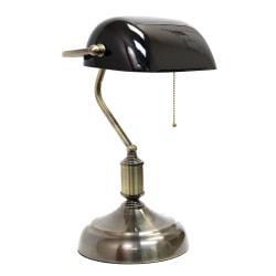 Simple Designs Executive Banker's Desk Lamp, 14-3/8in.H, Black Shade/Antique Nickel Base