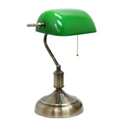Simple Designs Executive Banker's Desk Lamp, 14-3/8in.H, Green Shade/Antique Nickel Base