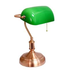 Simple Designs Executive Banker's Desk Lamp, 14-3/4in.H, Green Shade/Rose Gold Base