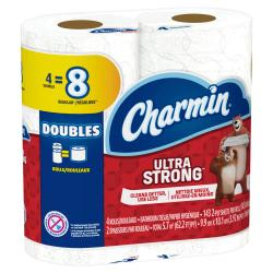 Charmin Ultra Strong 2-Ply Double-Roll Bathroom Tissue, 4in. x 467ft., White, 143 Sheets Per Roll, Pack Of 4 Rolls