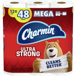 Charmin Ultra Strong 2-Ply Mega-Roll Bathroom Tissue, 4in. x 373ft., White, 286 Sheets Per Roll, Pack Of 12 Rolls