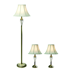 Elegant Designs Floor/Table Lamps, White Shade/Antique Brass Base, Set Of 3
