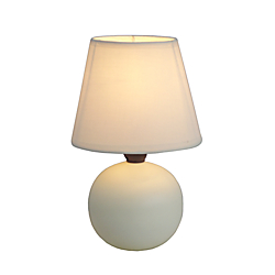 Simple Designs Mini Globe Table Lamp, 8 7/8in.H, Off-White Shade/Off-White Base