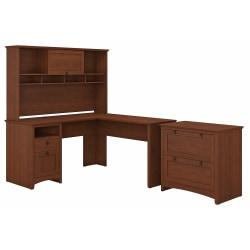 Bush Furniture Buena Vista L Shaped Desk With Hutch And Lateral File Cabinet, Serene Cherry, Standard Delivery