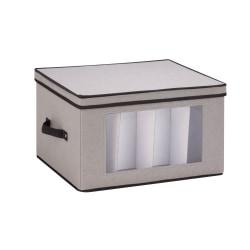 Honey-Can-Do Tall Stemware Canvas Storage Chest, 10 5/8in.H x 13 1/2in.W x 17 5/8in.D, Gray/Black