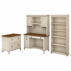 Bush Furniture Stanford Computer Desk With Hutch, Bookcase And Lateral File Cabinet, Antique White/Tea Maple, Standard Delivery