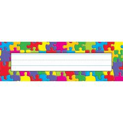 TREND Desk Toppers(R) Name Plates, 2 7/8in. x 9 1/2in., Jigsaw, 36 Name Plates Per Pack, Bundle Of 12 Packs