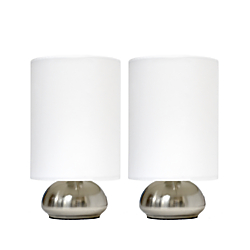 Simple Designs Gemini Mini Touch Table Lamps, 9in.H, Ivory Shade/Brushed-Nickel Base, Set Of 2
