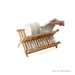 Mind Reader Bamboo Dish Drying Rack, 13.5in.H x 17.75in.W x 13.63in.D, Brown