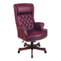 Office Star(TM) Traditional High-Back Chair With Built-In Headrest, 49 1/2in.H x 27 1/4in.W x 32in.D, Mahogany Frame, Oxblood Fabric