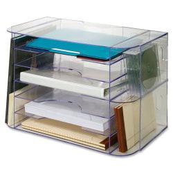 Sparco 6-tray Jumbo Desk Sorter - 3 Pocket(s) - 12.3in. Height x 18.1in. Width x 10in. Depth - Desktop, Wall Mountable - Clear - 1Each