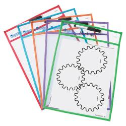 Learning Resources Write-and-wipe Pockets - White Surface - Portable - 5 / Set