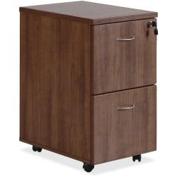Lorell(R) Essentials Series 22in.D 2-Drawer Mobile Pedestal File Cabinet, Walnut