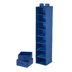 Honey-Can-Do 8-Shelf Hanging Vertical Closet Organizer With 2-Pack Drawers, 54in.H x 12in.W x 12in.D, Navy