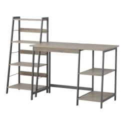 Homestar North America 2-Piece Desk And Bookcase Set, FSC(R) Certified, Brown/Gray