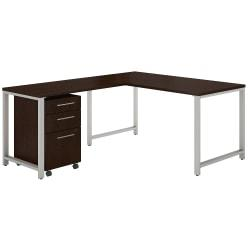 Bush Business Furniture 400 Series 60in.W x 30in.D L-Shaped Desk With 42in.W Return And 3 Drawer Mobile File Cabinet, Mocha Cherry, Premium Installation
