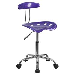 Flash Furniture Vibrant Low-Back Task Chair With Tractor Seat, Violet/Chrome
