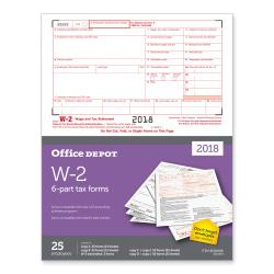 Office Depot(R) Brand W-2 Inkjet/Laser Tax Forms, 2-Up, 6-Part, 8 1/2in. x 11in., Pack Of 25 Forms