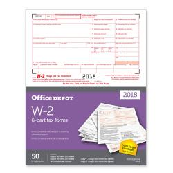 Office Depot(R) Brand W-2 Inkjet/Laser Tax Forms, 2-Up, 6-Part, 8 1/2in. x 11in., Pack Of 50 Forms