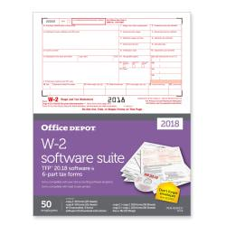 Office Depot(R) Brand W-2 Inkjet/Laser Tax Forms With Software, 6-Part, 8 1/2in. x 11in., Pack Of 50 Forms