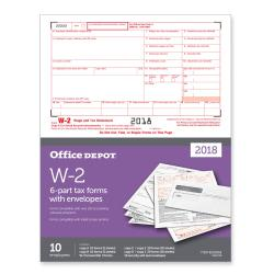 Office Depot(R) Brand W-2 Inkjet/Laser Tax Forms And Envelopes, 6-Part, 8 1/2in. x 11in., Pack Of 10 Sets