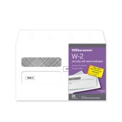 Office Depot(R) Brand Double-Window Self-Seal Envelopes For W-2 Tax Forms, 9 1/4in. x 5 5/8in., White, Pack Of 25 Envelopes