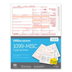 Office Depot(R) Brand 1099-MISC Inkjet/Laser Tax Forms, 2-Up, 4-Part, 8 1/2in. x 11in., Pack Of 50 Forms