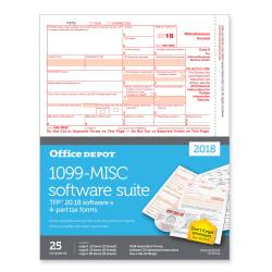 Office Depot(R) Brand 1099-MISC Inkjet/Laser Tax Forms With Software, 2-Up, 4-Part, 8 1/2in. x 11in., Pack Of 25 Forms