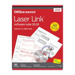 Office Depot(R) Brand 6-Part W-2/4-Part 1099 Laser Form Sets And Envelopes With LaserLink Software, Pack Of 50 Sets
