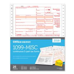 Office Depot(R) Brand 1099-MISC Continuous Tax Forms, 5-Part, 9in. x 11in., Pack Of 25 Forms