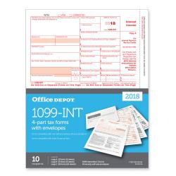Office Depot(R) Brand 1099-INT Inkjet/Laser Tax Forms And Envelopes, 2-Up, 4-Part, 8 1/2in. x 11in., Pack Of 10 Form Sets