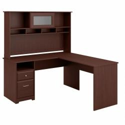 Bush Furniture Cabot L Shaped Computer Desk with Hutch and Drawers, 60in.W, Harvest Cherry, Standard Delivery
