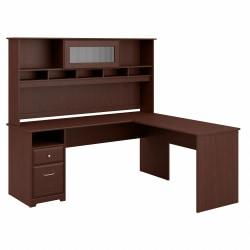 Bush Furniture Cabot L Shaped Computer Desk with Hutch and Drawers, 72in.W, Harvest Cherry, Standard Delivery
