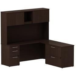 Bush Business Furniture 300 Series L Shaped Desk And Hutch With 3 Drawer Pedestal And 2 Drawer Lateral File Cabinet, 72in.W x 22in.D, Mocha Cherry, Premium Inst