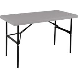 SKILCRAFT Blow-molded Folding Table - Rectangle Top - 96in. Table Top Width x 30in. Table Top Depth - Assembly Required - Charcoal - High-density Polyethylene (