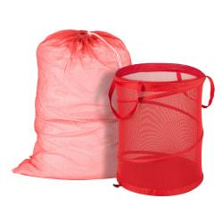 Honey-Can-Do Laundry Bag And Hamper Kit, Red