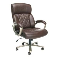 OFM Avenger Big Tall Bonded Leather High-Back Chair, 49in.H x 30in.W x 32 1/2in.D, Brown/Champagne