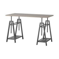 Homestar North America Adjustable Home Office Desk, Rectangular, FSC(R) Certified, Gray/Brown