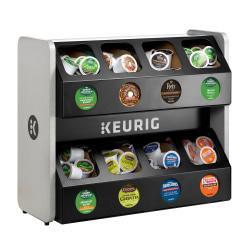 Keurig(R) Premium 8-Sleeve K-Cup(R) Pod Storage Rack, 18 3/8in.H x 16 3/8in.W x 21 1/4in.D, Black/Silver