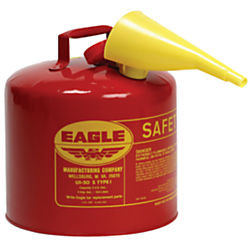 Eagle Type I Safety Can For Flammables With F-15 Plastic Funnel, 2 Gallon, Red