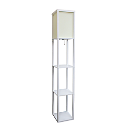 Simple Designs Etagere Organizer Floor Lamp, 63 3/8in.H, Linen Shade/White Base
