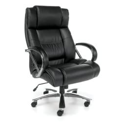 OFM Avenger Big Tall Bonded Leather High-Back Chair, 49in.H x 30in.W x 32in.D, Black/Chrome